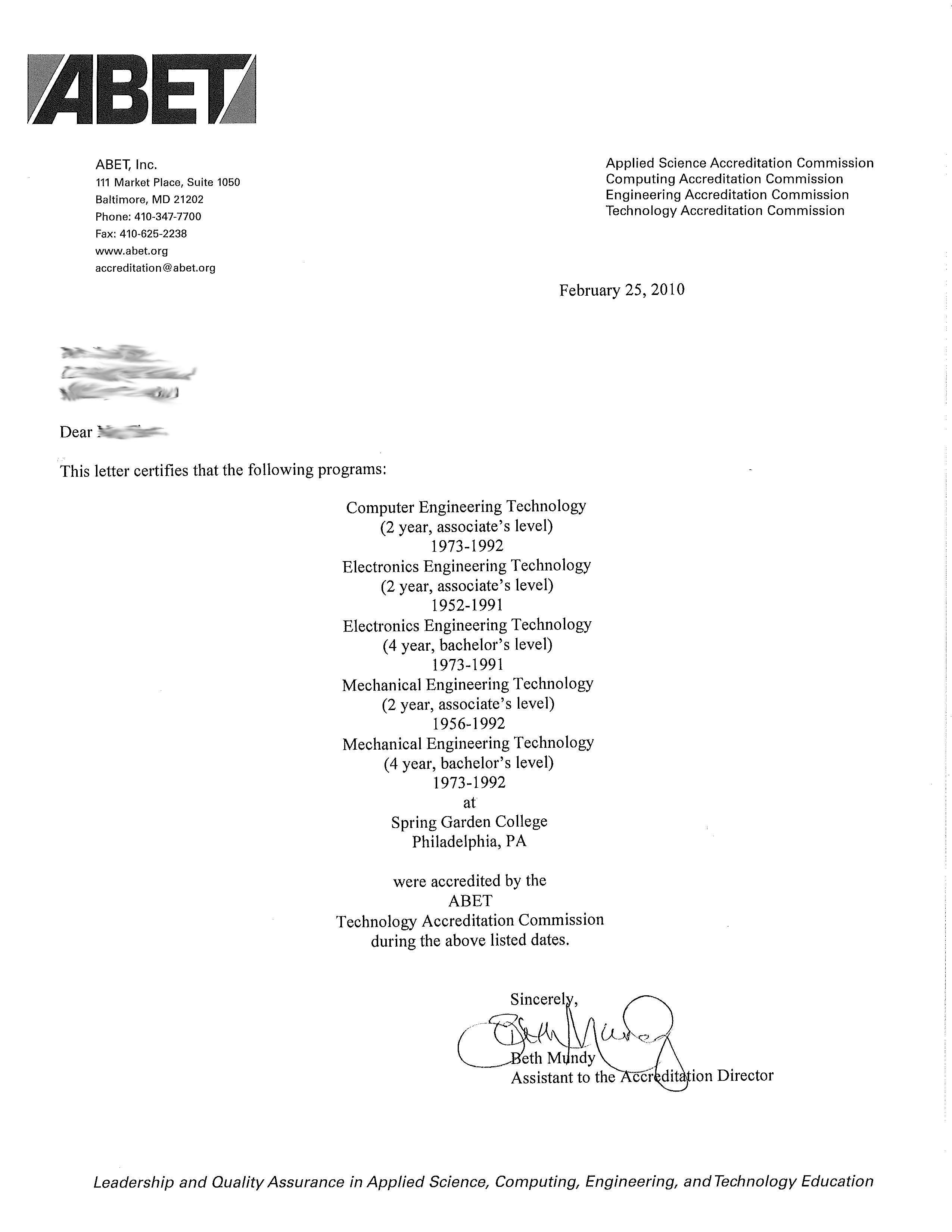 Spring garden college accreditation abet accreditation letter xflitez Images